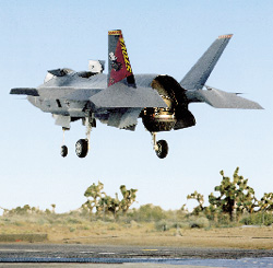 F-35 hovering